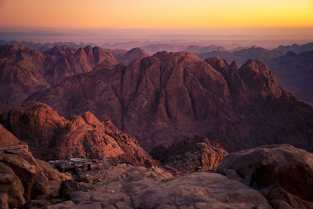 The summit of 'Jebel Musa,' one possible location of the biblical Mt. Sinai
