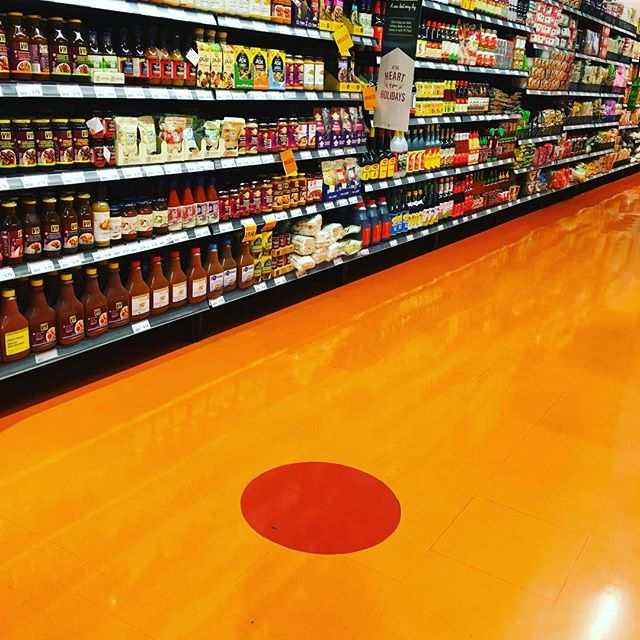 Ok, this is a boring pic BUT: At one corner of the old Maple Leaf Gardens (see previous post), there now sits a supermarket and in homage to the previous tenant, in aisle 25 (International Foods) they have put a red dot, indicating where the original center ice dot was in the old arena. Thanks for the tip @rob_delmundo #onlyincanada #hockey #icehockey #toronto #thehockeyaddict #roadtrip