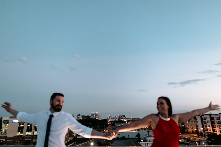 Rooftop Engagement at night - Of Fate and Chaos - Hampton Roads Wedding Photographer