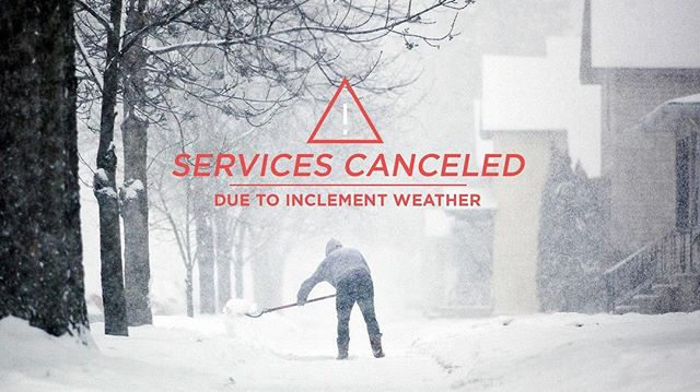 "Both Sunday morning services are cancelled tomorrow due to April's Winter Storm ""Xanto"". But don't worry, we'll see you Monday at Breathe! 🙌🏼 stay safe + stay warm"