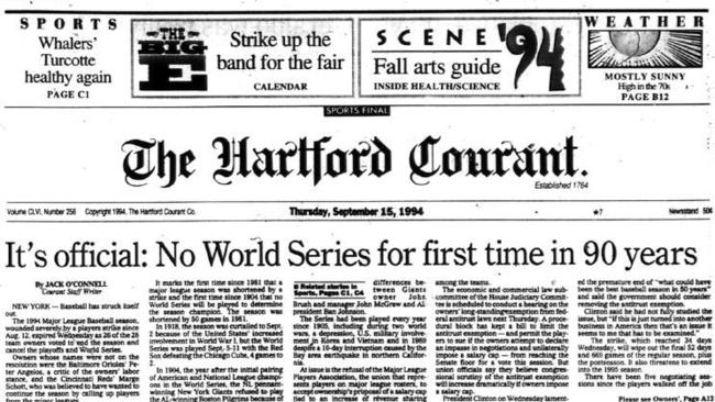 Image result for announcement of the cancelling of the baseball season in 1994