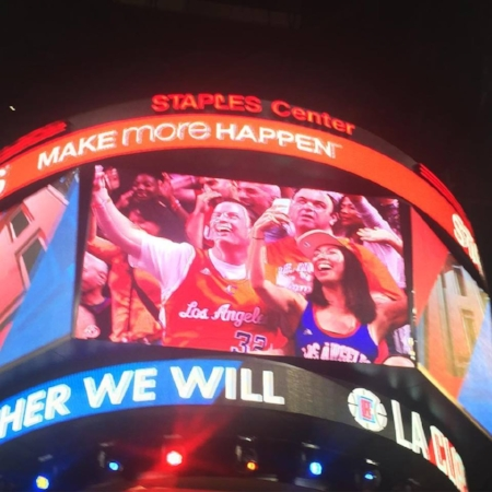 This is me befriending a complete stranger on the jumbotron at a Clippers game I went to alone.