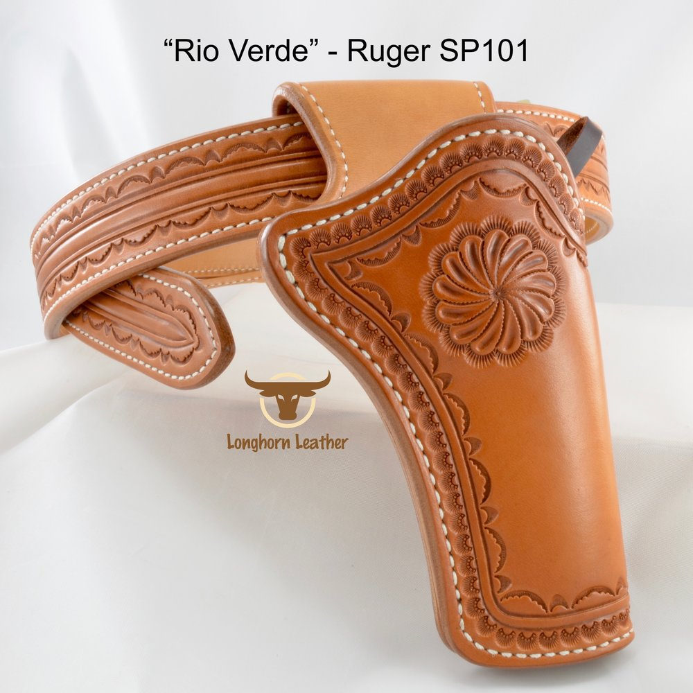 Longhorn Leather AZ - Ruger SP101 holster & gun belt featuring the %22Rio Verde%22 design 3.jpg