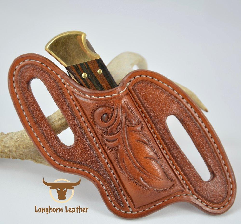 "Buck 110 cross draw knife sheath featuring a ""Feather"" design - Longhorn Leather AZ"