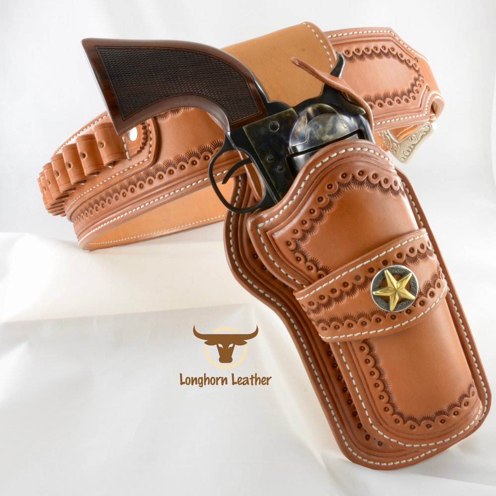 Longhorn Leather AZ - Single Action holster and cartridge belt featuring the %22Cimarron%22 design .jpg