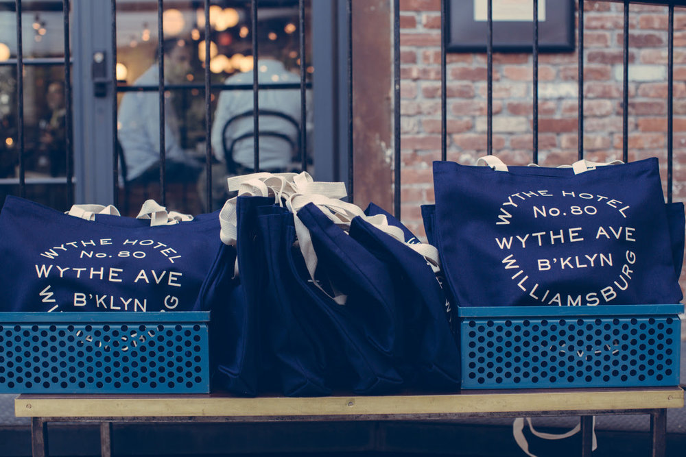 Wythe Hotel tote bags for The Summer Party.