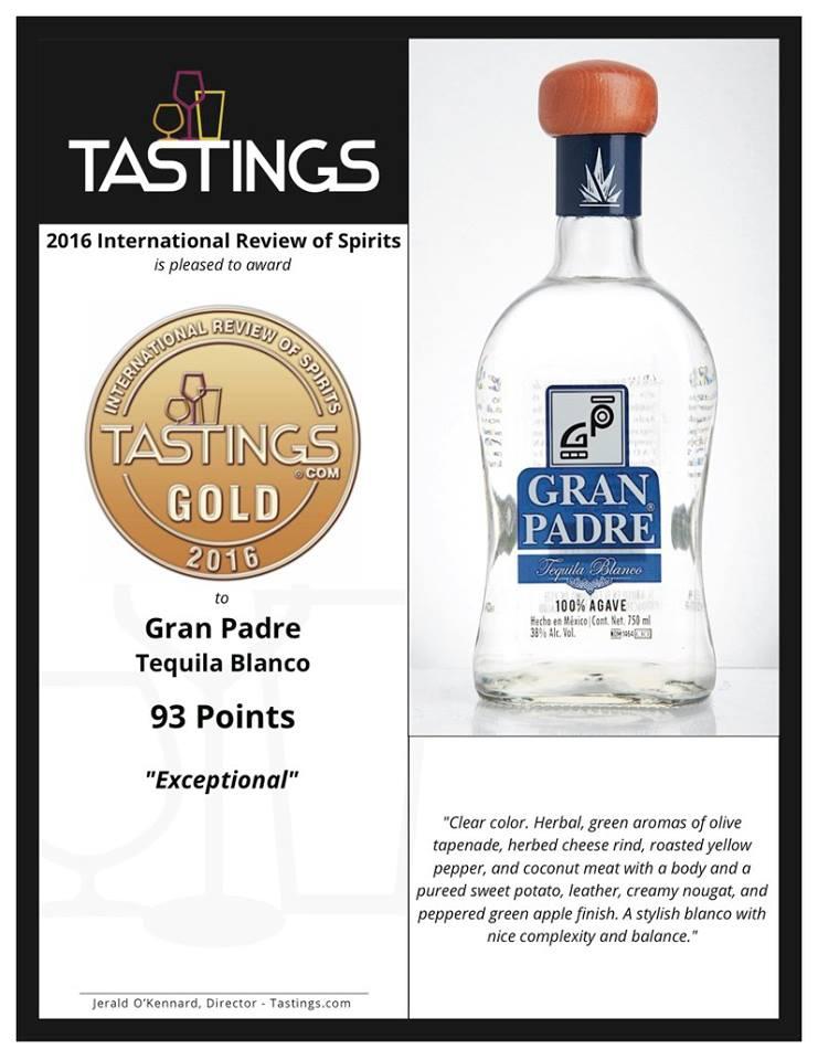 Más premios para el major tequila! Oro para Gran Padre Blanco