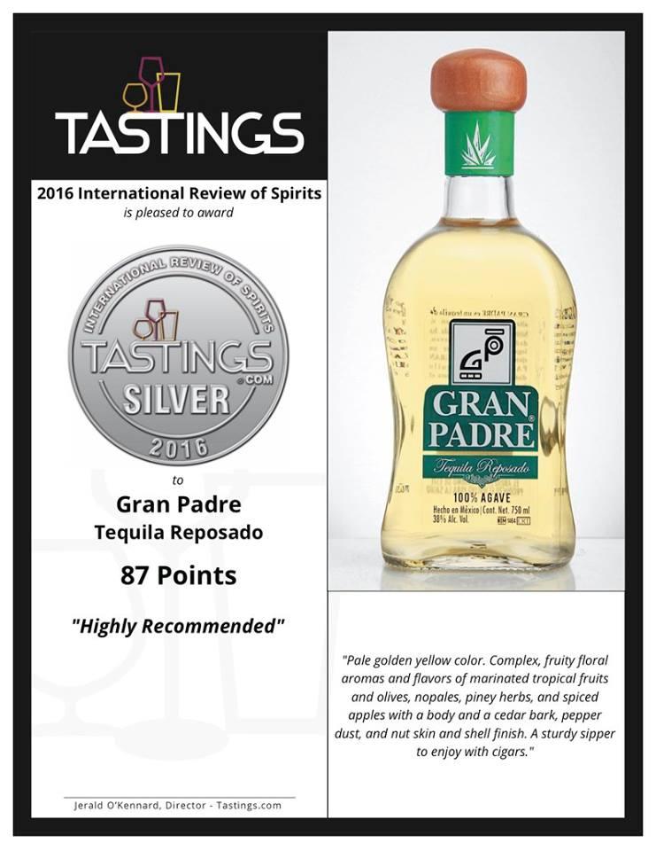 Más premios para el major tequila! Plata para Gran Padre Reposado