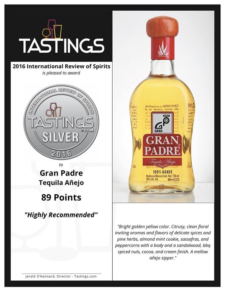 Más premios para el major tequila! Plata para Gran Padre   Añejo