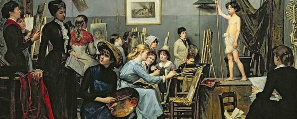 Frances (centre, blue dress) studied painting at the Académie Julian in Paris, where women were allowed to enroll (unlike the École des Beaux-Arts).