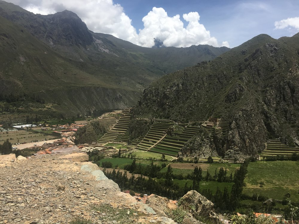 View overlooking Ollantaytambo and ruins.