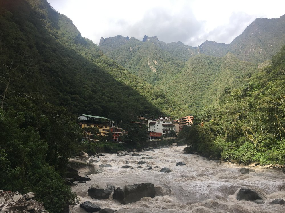 Aguas Calientes, aka Machu Picchu Pueblo - nestled in the Andes Mountains along the Urubamba River.