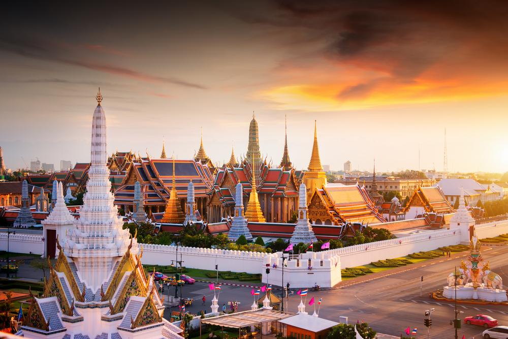 Sunset at the Grand Palace in Bangkok, Thailand