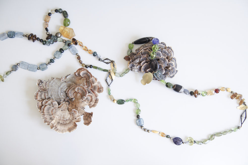 18ky Story Necklace Aquamarine, Kyanite, Tourmaline, Citrine