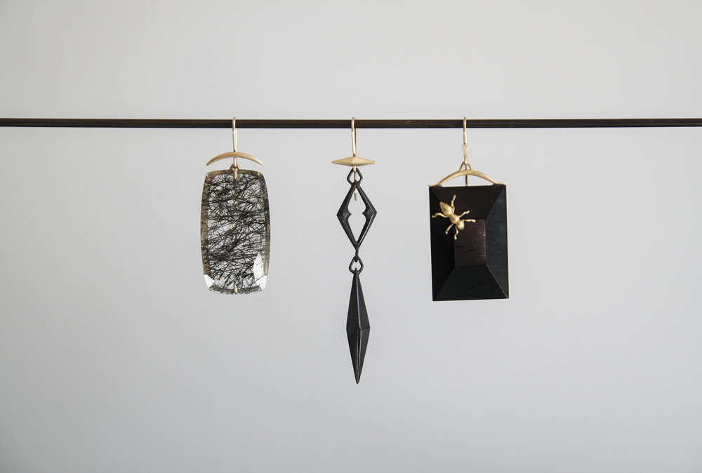 Black Rutilated Quartz Earring, Oxidized Bronze Chiseled Link Earring, Jet Earring with 18ky Gold Ant