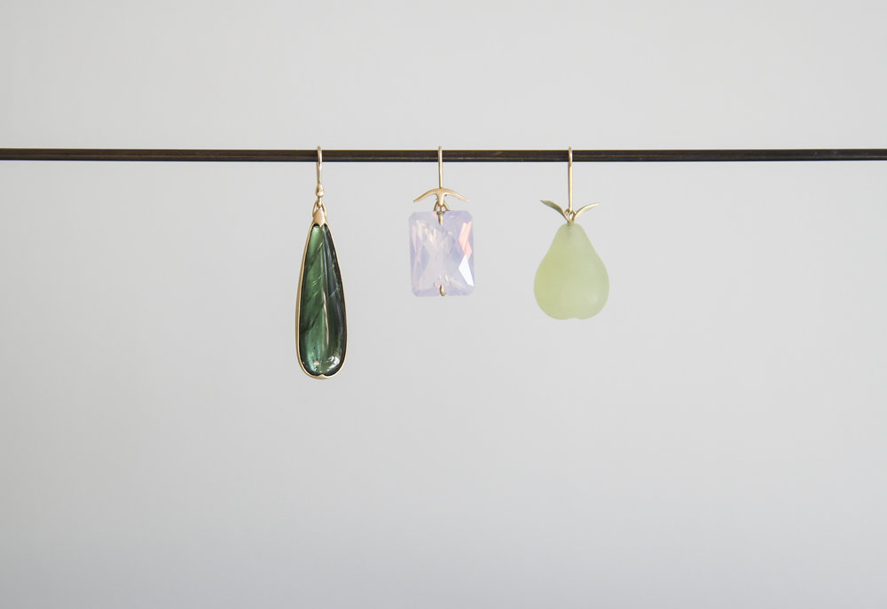 Green Tourmaline Drop Earring, Faceted Lavender Quartz Earring, Serpentine Pear Earring
