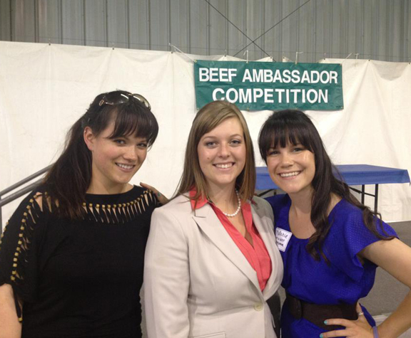From left to right: Beef Ambassador Committee Chair Olivia Wenger with 2013 SLO County Beef Ambassador Kayla Welcher and past National Beef Ambassador Malorie Bankhead celebrate Kayla's second place finish at the 2013 California Beef Ambassador competition.