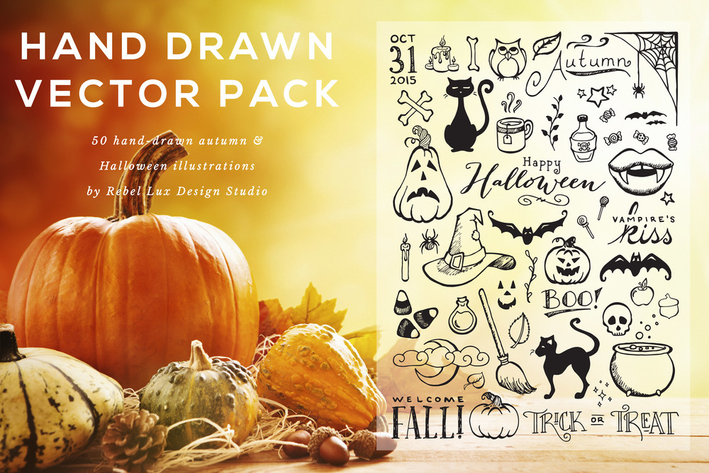 Hand drawn Halloween vector art pack