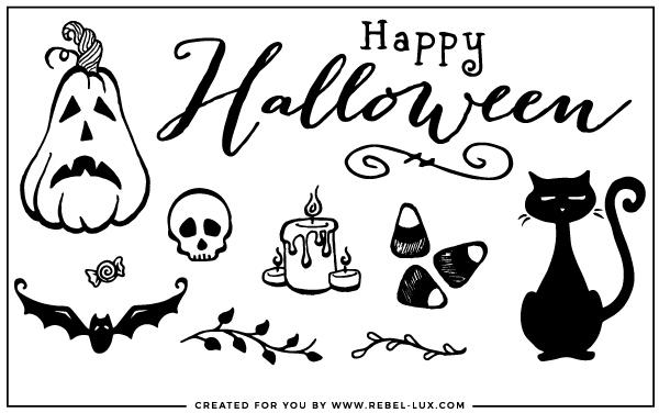 An assortment of free Halloween vector graphics.