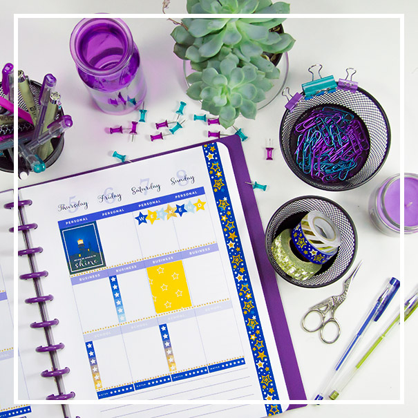 Decorate your daily planner with stickers and washi tape.