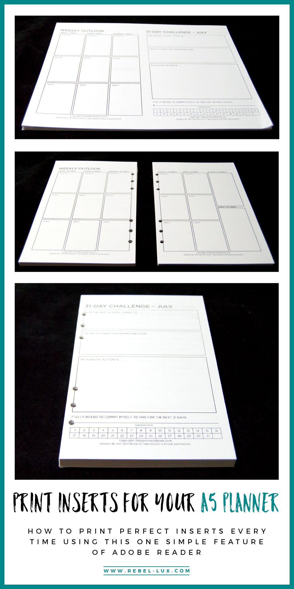 How to Print Inserts for Your A5 Planner Using this One Simple Feature of Adobe Reader || via Rebel-Lux.com