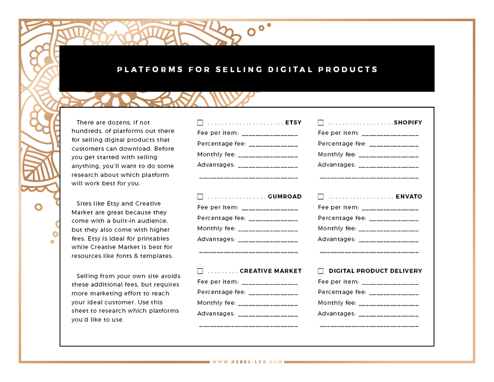 10 Things to Know Before You Start Selling Printables Online: this FREE checklist can help you decide which e-commerce platform is best for your digital products. || via rebel-lux.com