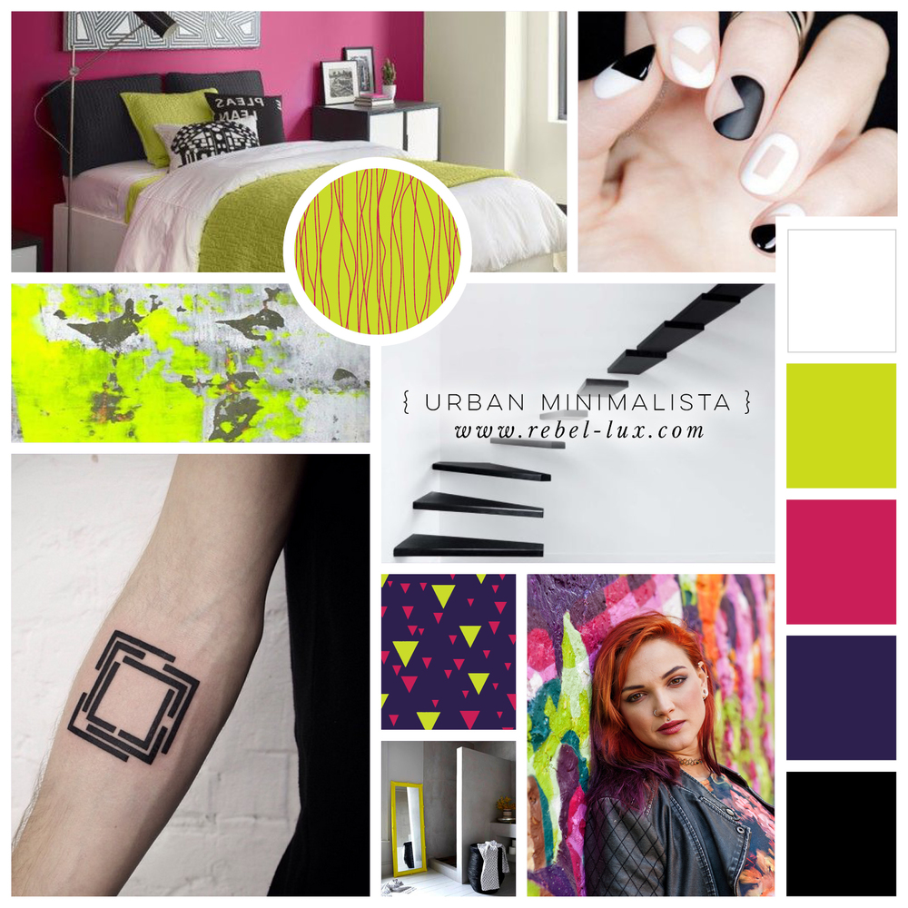 Rebellious Color Palettes: Urban Minimalista. Absinthe green, raspberry pink, and night sky violet.