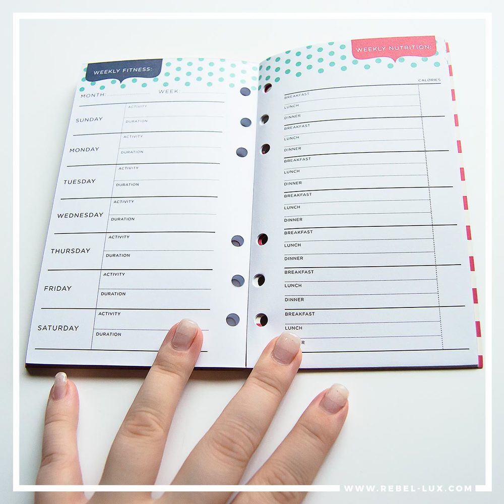 Planner review: Recollections. Weekly spread in the Fitness inserts pack.