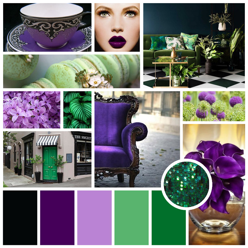 Mood board example: bold purples and vibrant greens.