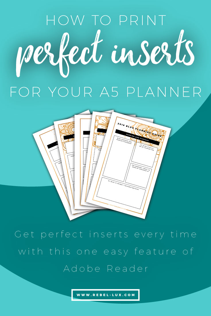 How to print inserts for your A5 planner || via Rebel-Lux.com