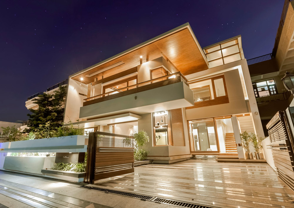 Architecture Lighting Twin Courtyard House Modern Decorating Exterior