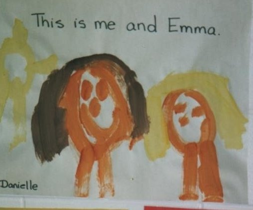 As a wee little one, this is how Danielle thought of us. I approve, 'cause, I mean, we're adorable.