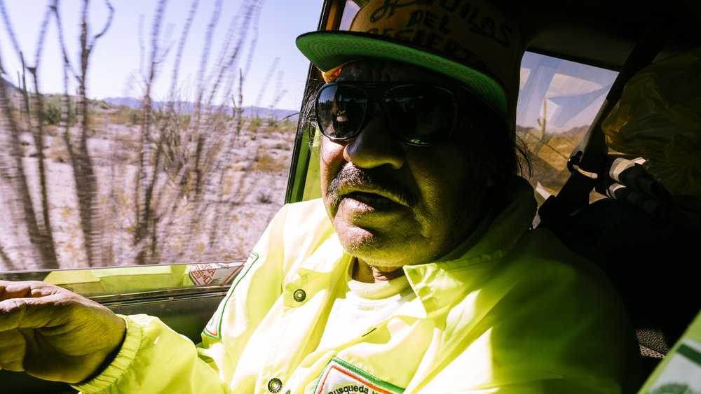 IMAGE CAPTION:  Eli Leon, a Mexican construction worker who lives in Reseda, California on the way to the Sonoran Desert with Aguilas Del Desierto, an immigrant to migrant search and rescue organization. They search on weekends for deceased and lost migrants attempting to cross into America.