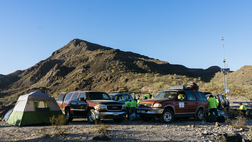 IMAGE CAPTION:  Aguilas Del Desierto camp setup at the end of Charlie Bell Road in the Cabeza Prieta National Wildlife Refuge. The Refuge ecompasses nearly 860,000 acres of desert.