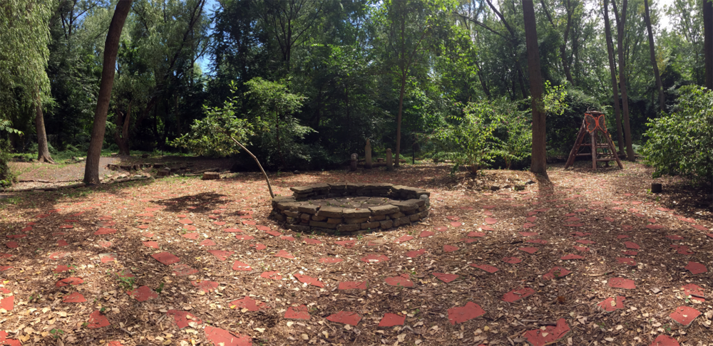 Turtle Peace Labyrinth - Ariana Burgess  2003-2004 Recycled concrete debris, living plant material