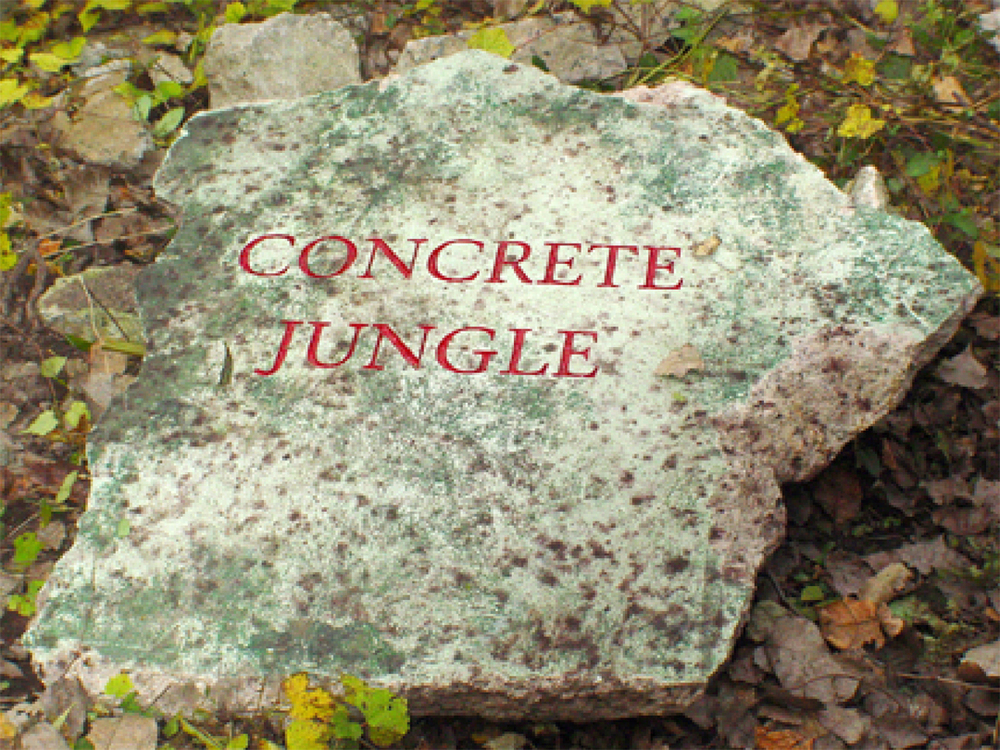Concrete Jungle - Richard Kirk Mills  2004 Recycled and sandblasted highway concrete
