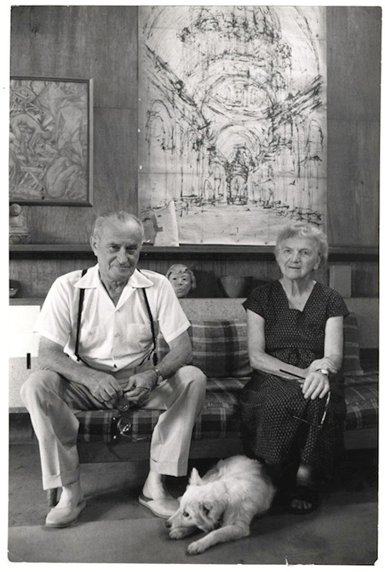 Noémi and Antonin Raymond in their Tokyo office, late 1960s.