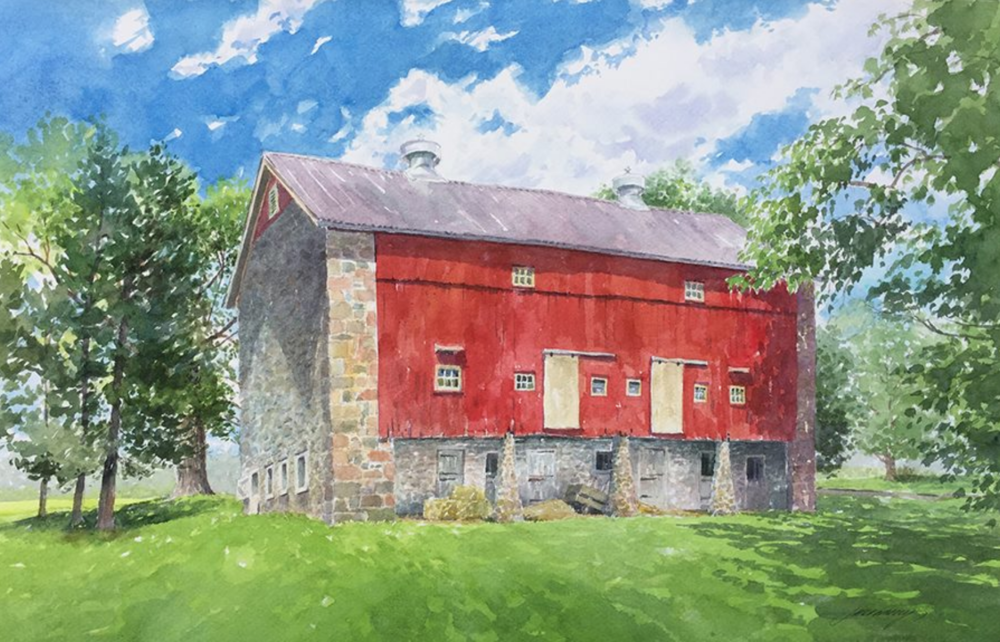 Art of the Barn Tour and Art Show September 30-October 1 The Bucks County Audubon Society's annual Art of Barn Tour featured the 18th century barn on the Raymond Farm. The public was encouraged to explore the Raymond Property and Farmhouse.  Painting by Jane Ramsey