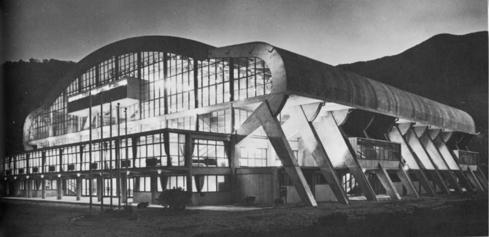 Memorial Hall Steelworkers Building, Yawata, Japan, 1954, Antonin Raymond Architects
