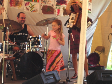Daisy singing with us at the Clearwater Festival, way back when.