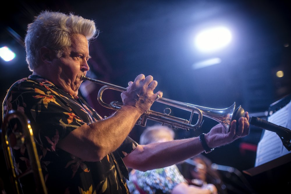 "Bill Holloman adding some plunger trumpet at our ""Press Play"" CD Release concert. City Winery, 2016.  Photo by Jeremy Gordon"