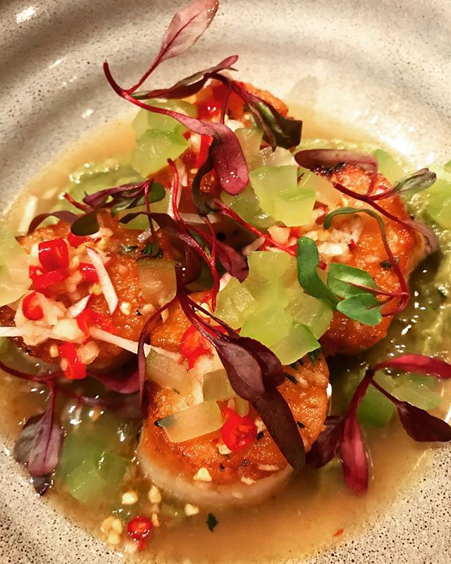 Fiery scallops for a chilly spring evening! #NourishThePalate • Menu & reservations - restauranteve.com