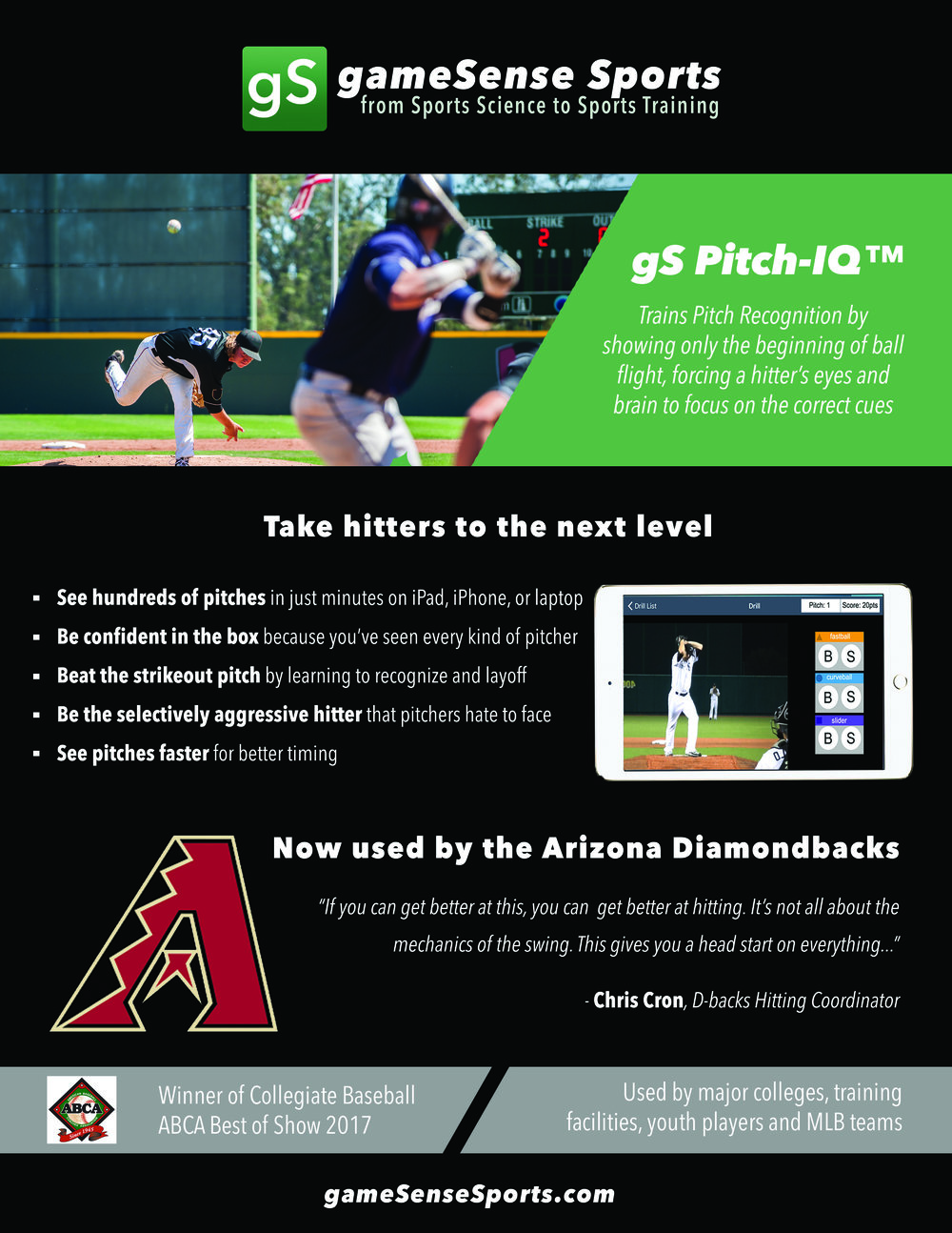 Arizona Diamondback works with gameSense Sports Pitch Recognition Software