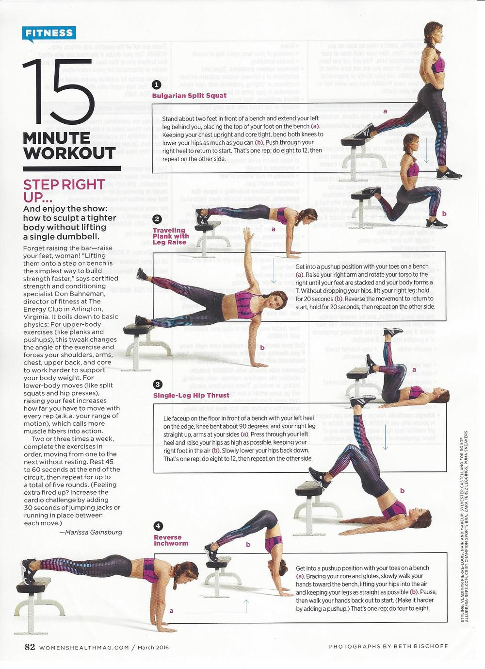 Special thanks and gratitude to the team at Women's Health for letting me devise the 15 minute workout for March's issue! - DB