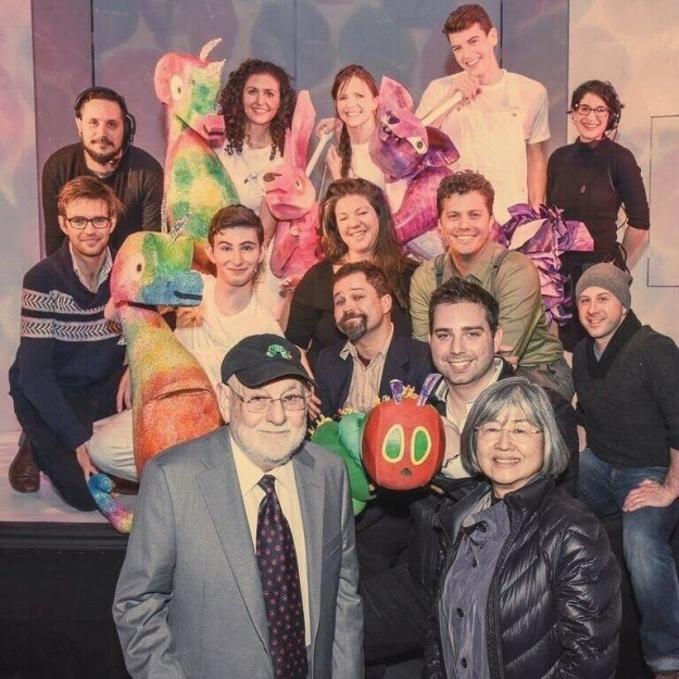 "Puppet Kitchen Productions Head Chefs, ""The Very Hungry Caterpillar Show"" Cast and Crew, and Jonathan Rockefeller with Eric Carle."