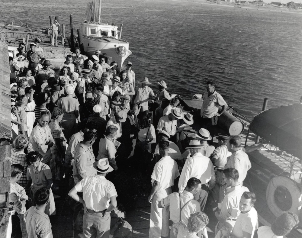 Outreach - Port Light Project Crowd on Mailboat Pier, Ocracoke, 1945 - Aycock Brown Collection, 2003 Acquisition.jpg