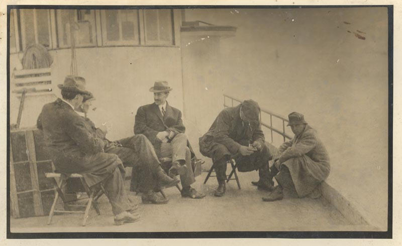 Orville Wright with reporters, 1911 on Hattie Creef or the Trenton