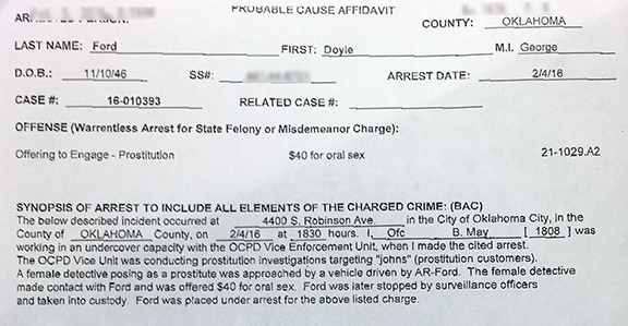 Doyle Ford's prostitution arrest probable cause affidavit.