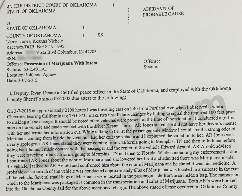 Keanna Jones and Edward Arnold's probable cause affidavit.