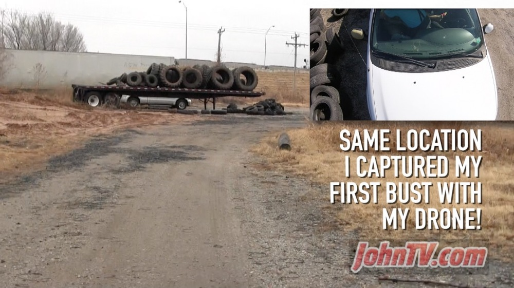 On March 8, 2015 - in this same tire dump - JohnTV caught the first ever act of prostitution that led to an arrest and conviction. You can watch the drone bust at this link.